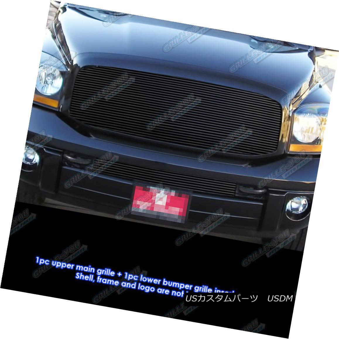 グリル Fits 2006-2008 Dodge Ram Pickup Black Billet Grille Combo フィット2006-2008ダッジラムピックアップブラックビレットグリルコンボ