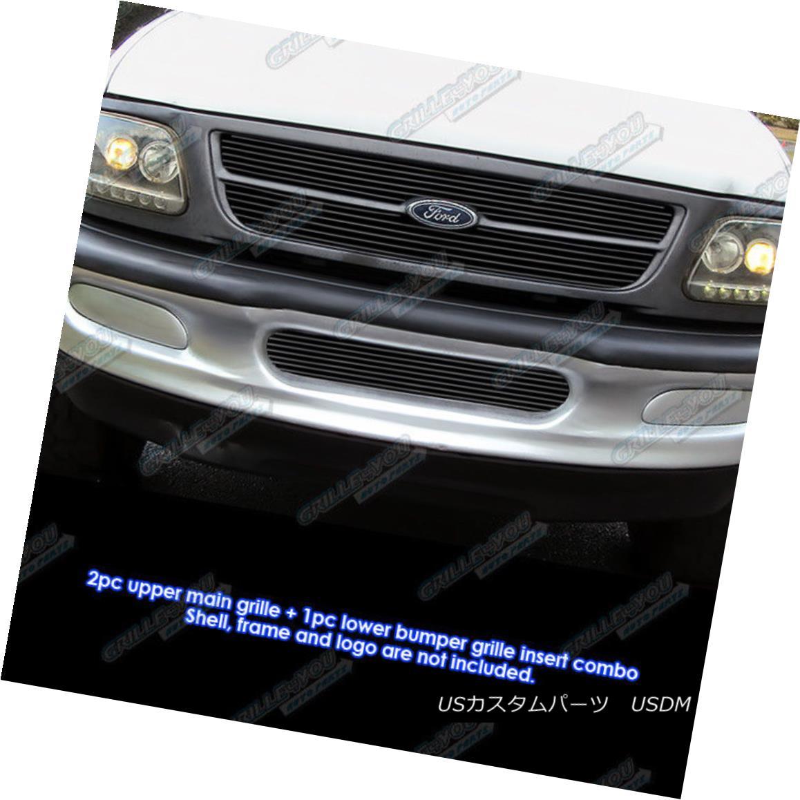 グリル For 1997-1998 Ford Expedition/ F-150 Bar Style 4WD Black Billet Grille Combo 1997-1998 Ford Expedition / F-150バースタイル4WDブラックビレットグリルコンボ用