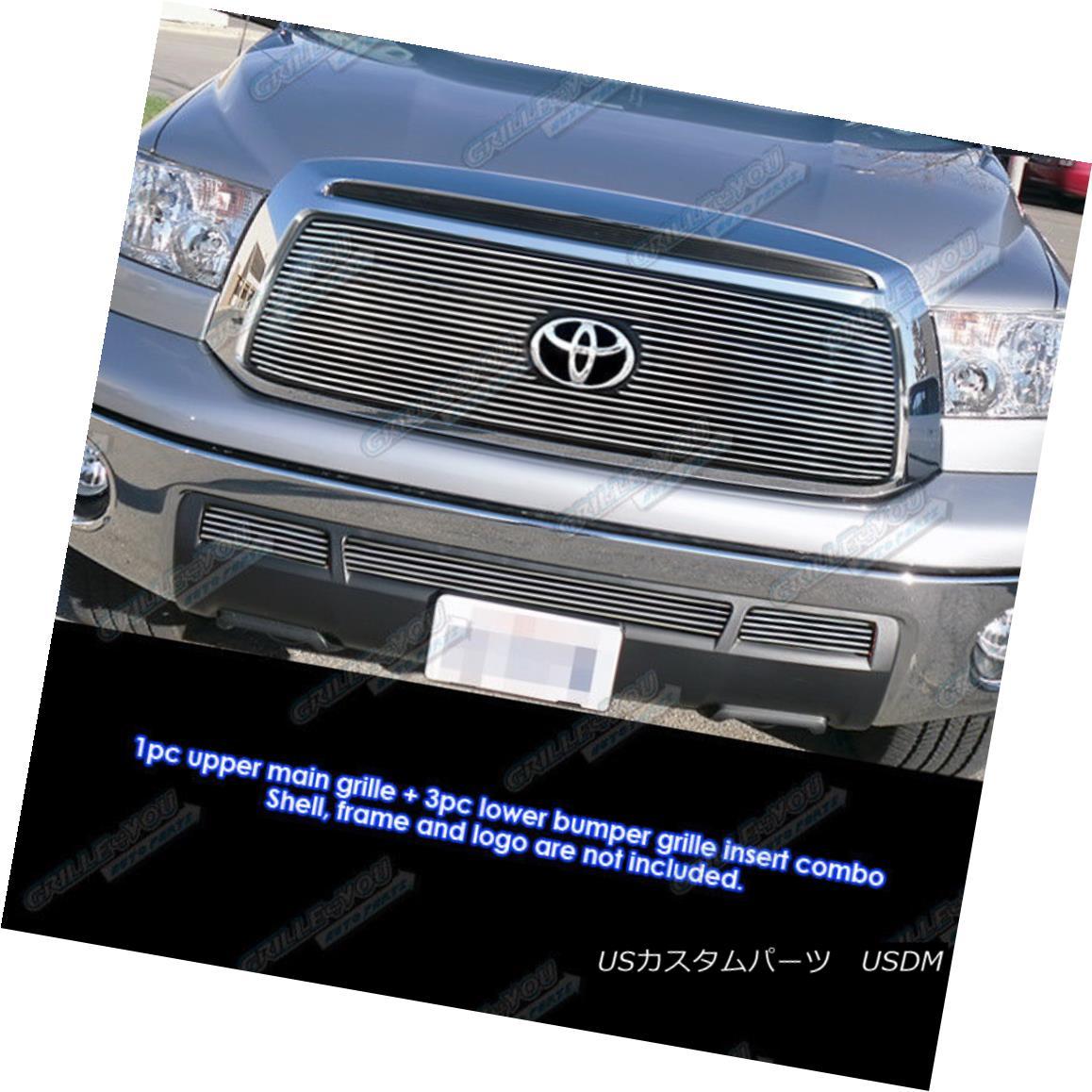 グリル Fits 2010-2013 Toyota Tundra Billet Grille Grill Insert Combo フィット2010-2013トヨタトンドラビレットグリルグリルインサートコンボ