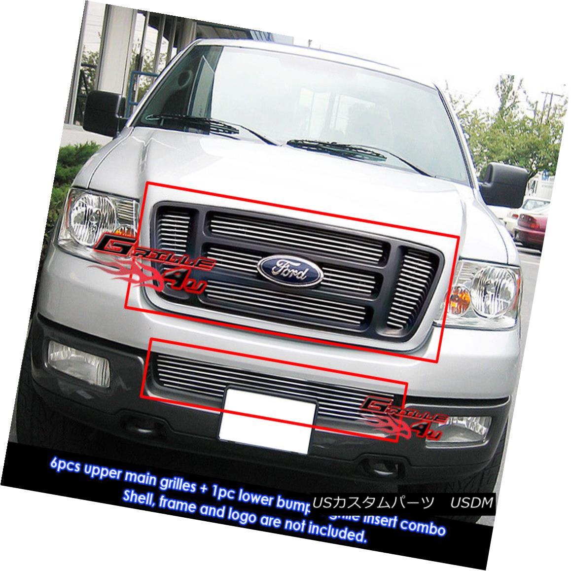 グリル Fits 2006-2008 Ford F-150 Bar Style Billet Grille Combo Insert フィット2006-2008 Ford F-150バースタイルビレットグリルコンボインサート