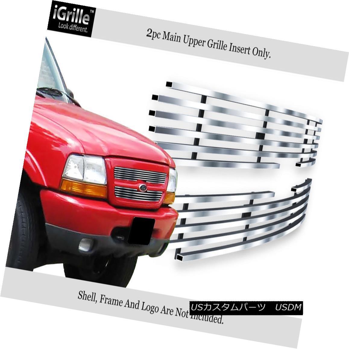 グリル Fits 98-2000 Ford Ranger Stainless Steel Billet Grille Insert フィット98-2000フォードレンジャーステンレス鋼ビレットグリルインサート