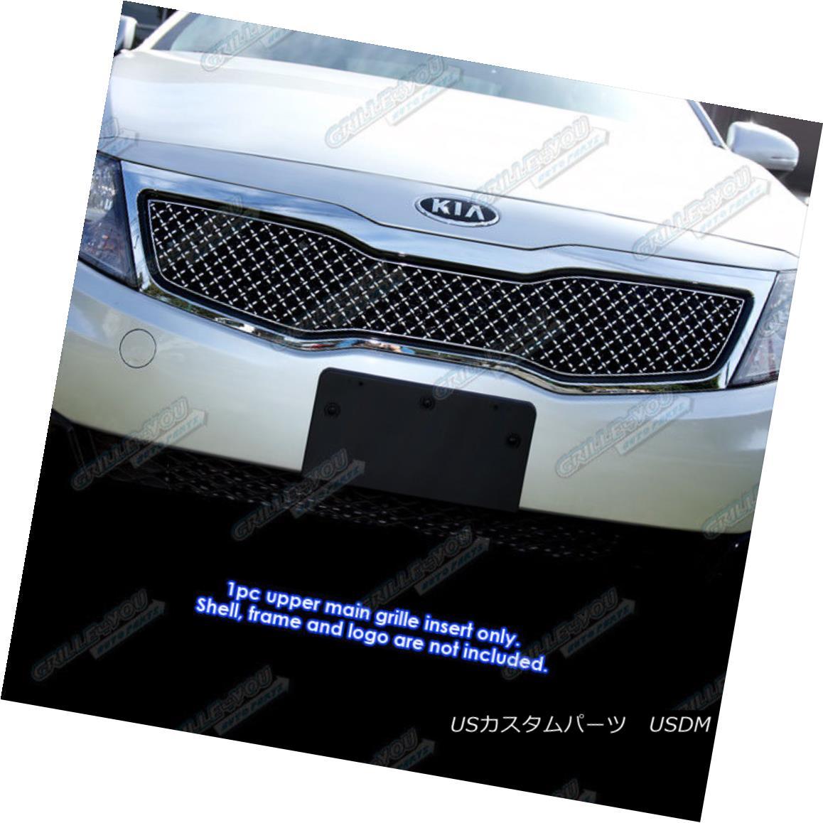 グリル For 2011-2013 Kia Optima LX/EX Stainless Steel X Mesh Blitz Grille Grill 2011-2013 Kia Optima LX / EXステンレススチール×メッシュブリッツグリルグリル
