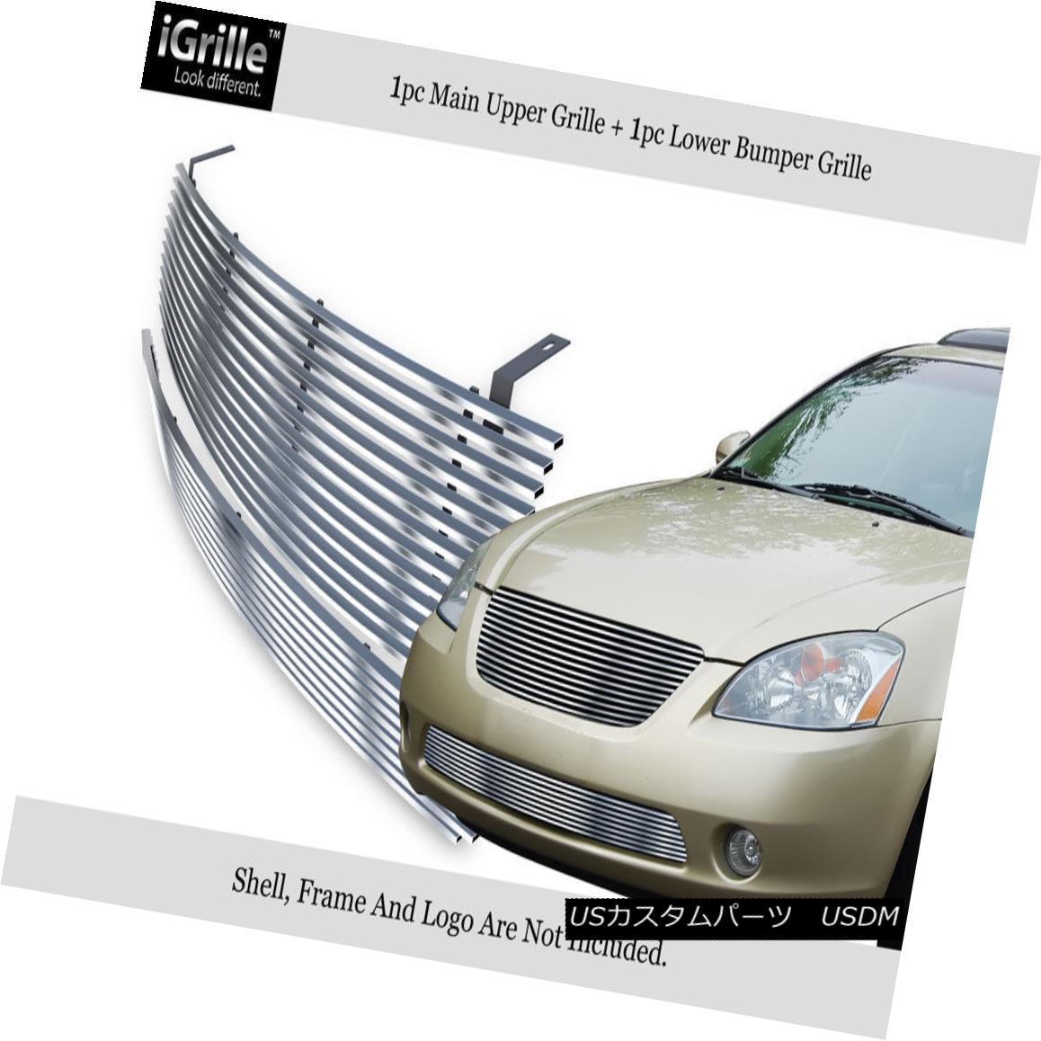 グリル Fits 2002-2004 Nissan Altima Bumper Stainless Steel Billet Grille Insert Combo フィット2002-2004日産アルティマバンパーステンレス鋼ビレットグリルインサートコンボ