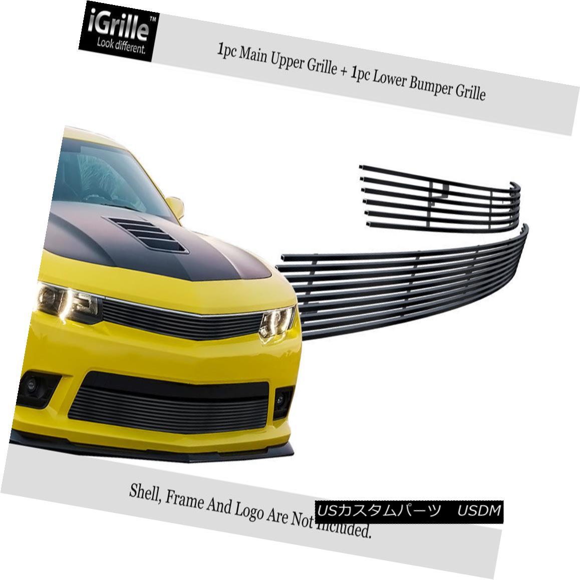 グリル For 2014-2015 Chevy Camaro LS/LT W/RS Package Stainless Black Billet Grille 2014-2015シボレーカマロLS / LT W / RSパッケージステンレスブラックビレットグリル