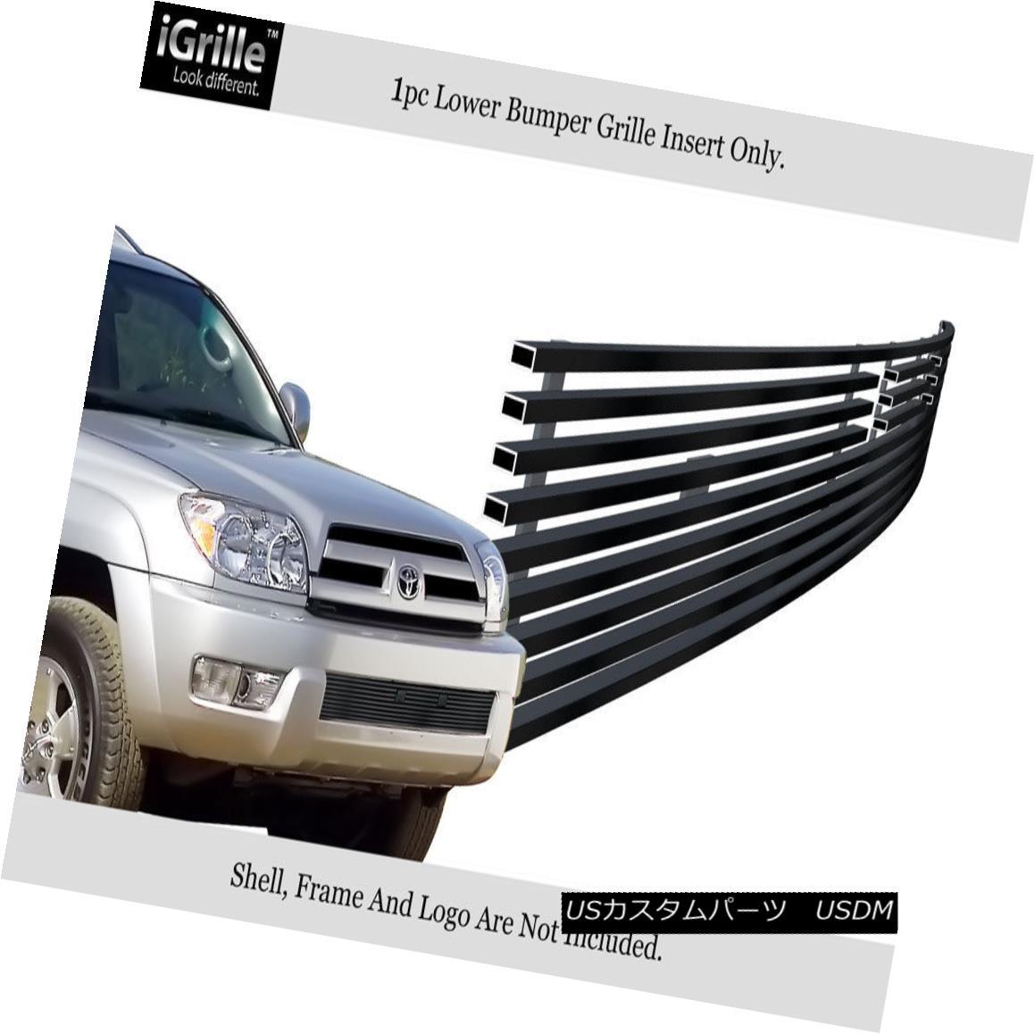 グリル For 2003-2005 Toyota 4Runner Stainless Steel Black Bumper Billet Grille Insert 2003?2005年トヨタ4Runnerステンレス鋼ブラックバンパービレットグリルインサート