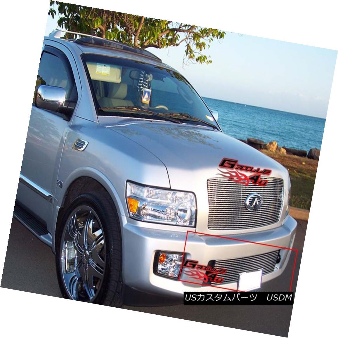 グリル Fits 2004-2010 Infiniti QX56 Bumper Billet Grille Insert フィット2004年?2010年インフィニティQX56バンパービレットグリルインサート