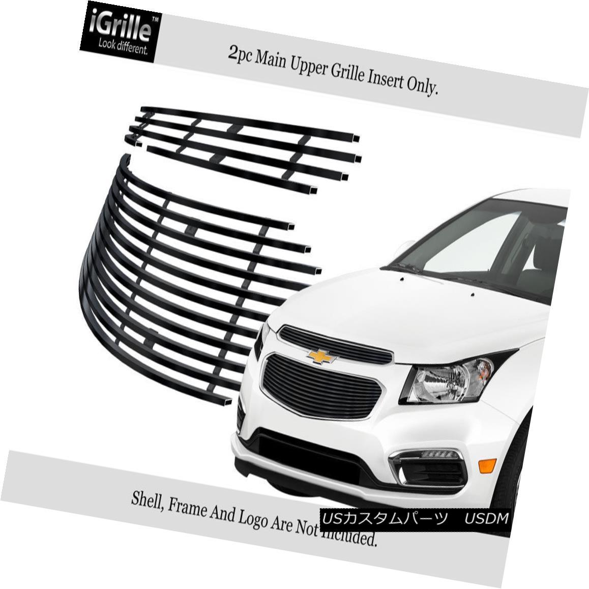 グリル For 2015-2015 Chevy Cruze Main Upper Stainless Steel Black Billet Grille Insert 2015-2015シボレークルーズメインアッパーステンレススチールブラックビレットグリルインサート