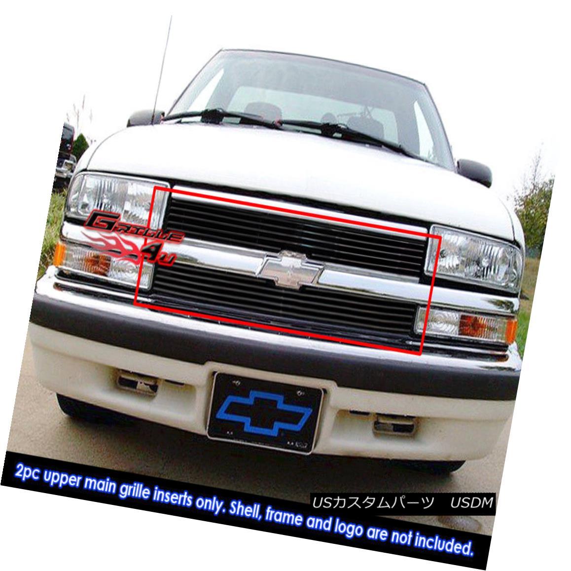 グリル Fits 1998-2004 Chevy S-10/ Blazer Black Main Upper Billet Grille Insert フィット1998-2004シボレーS - 10 /ブレザーブラックメインアッパービレットグリルインサート