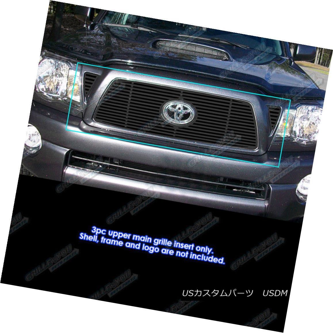 グリル Fits 2005-2010 Toyota Tacoma Black Perimeter Grille Insert フィット2005-2010トヨタタコマブラックペリメーターグリルインサート