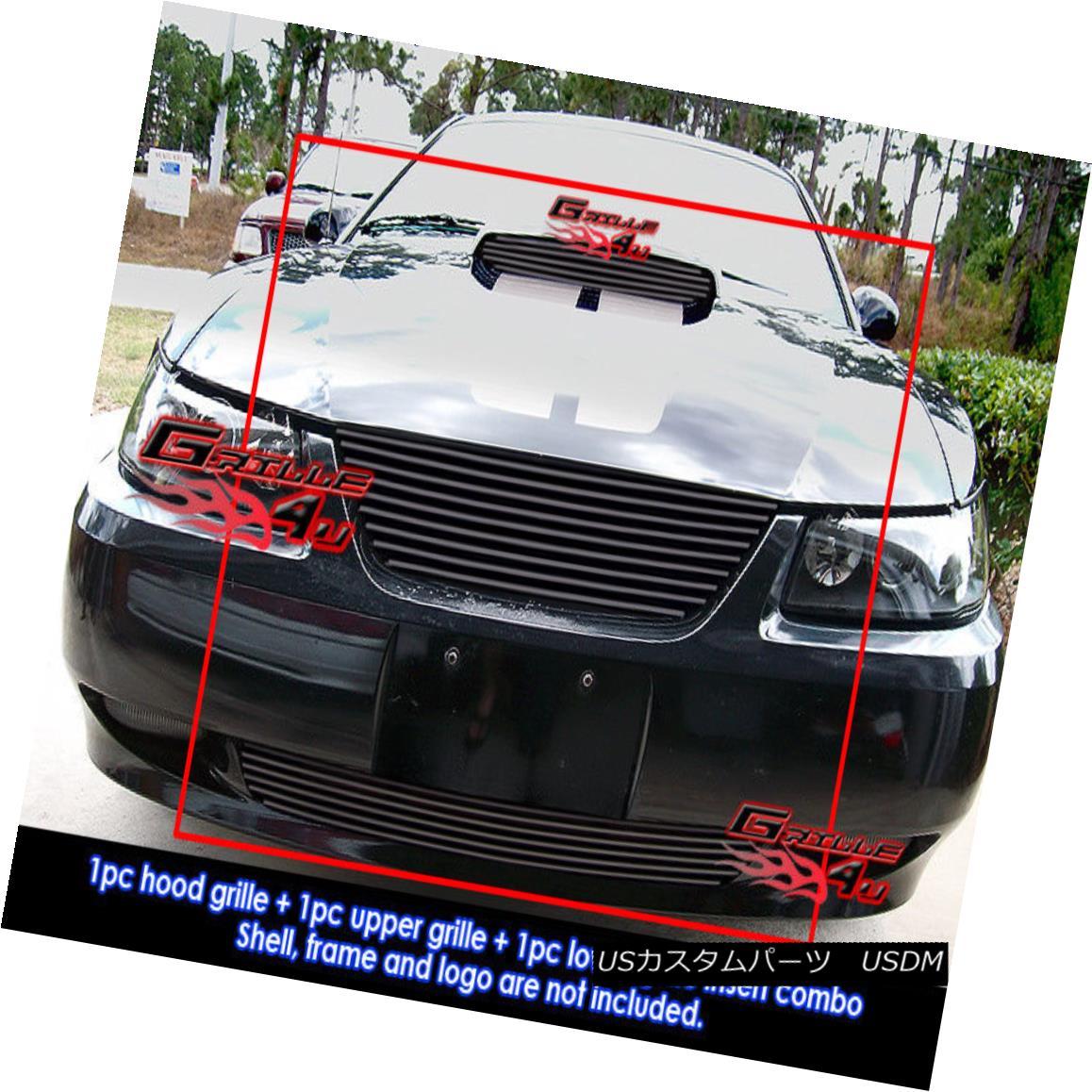 グリル Custom Fits 1999-2004 Ford Mustang GT V8 Black Billet Grill Combo Custom Fits 1999-2004フォードマスタングGT V8ブラックビレットグリルコンボ