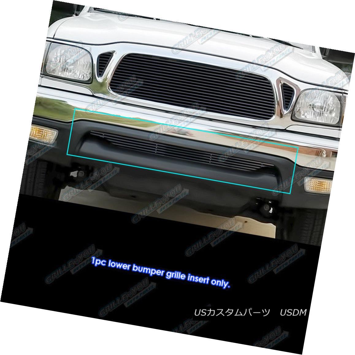 グリル Fits 01-04 Toyota Tacoma Black Lower Bumper Billet Grille Insert フィット01-04トヨタタコマブラックロワーバンパービレットグリルインサート