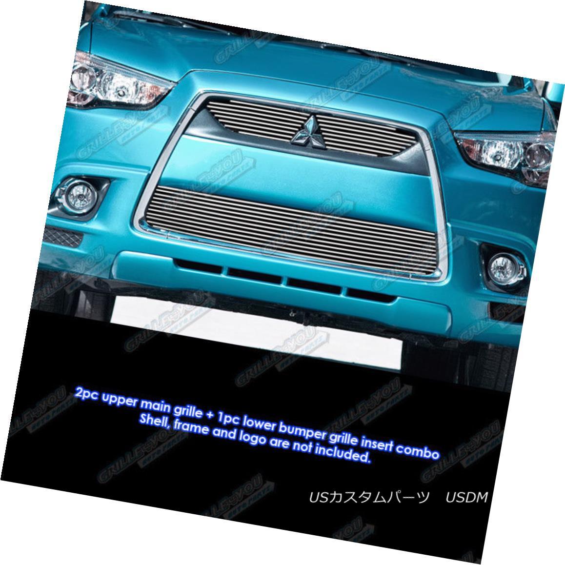 グリル Fits 2011-2012 Mitsubishi Outlander Sport Billet Grille Grill Inserts フィット2011-2012三菱アウトランダースポーツビレットグリルグリルインサート