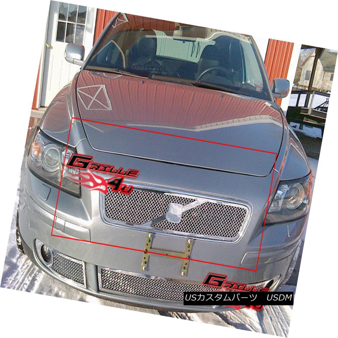グリル Fits 05-07 Volvo S40/05-06 V50 Stainless Steel Mesh Grille フィット05-07ボルボS40 / 05-06 V50ステンレスメッシュグリル