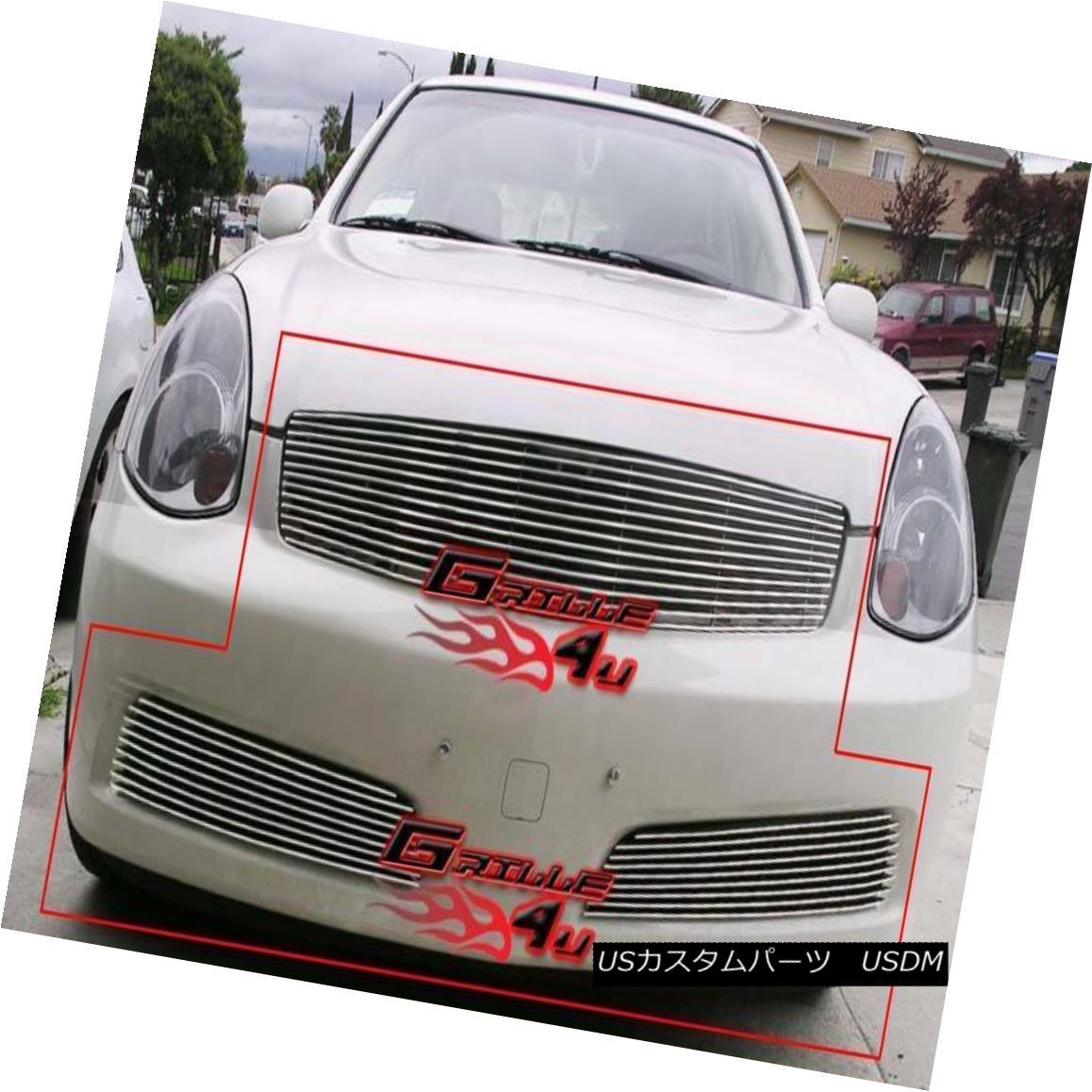 グリル Fits 2005-2006 Infiniti G35 Sedan Billet Grille Grill Combo Insert フィット2005-2006インフィニティG35セダンビレットグリルグリルコンボインサート