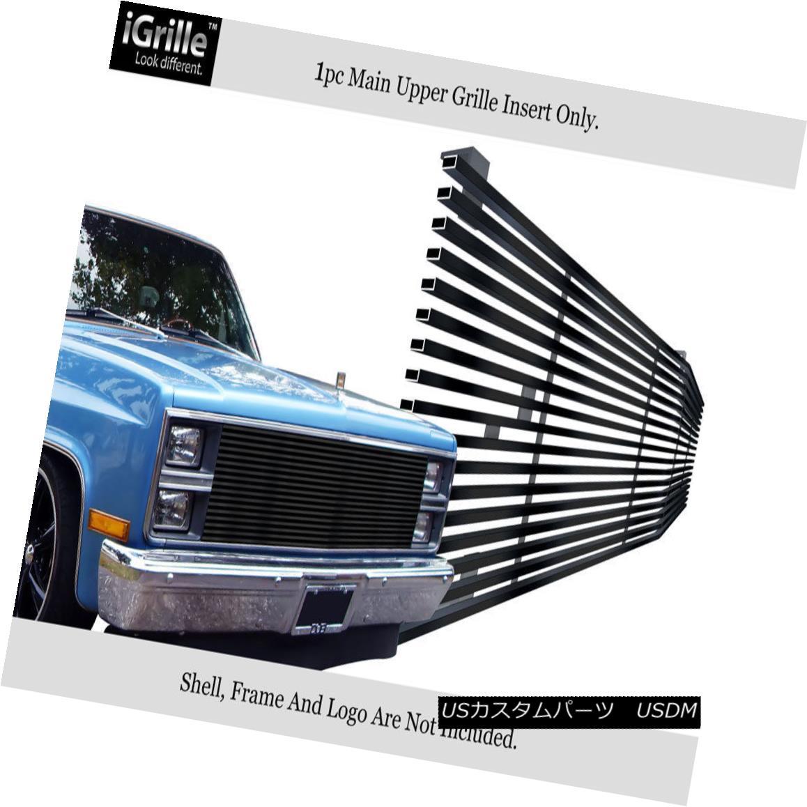 グリル Fits 1981-1988 Chevy C/K Pickup/Blazer 304 Stainless Steel Black Billet Grille フィット1981-1988シボレーC / Kピックアップ/ブレイザー304ステンレス鋼ブラックビレットグリル