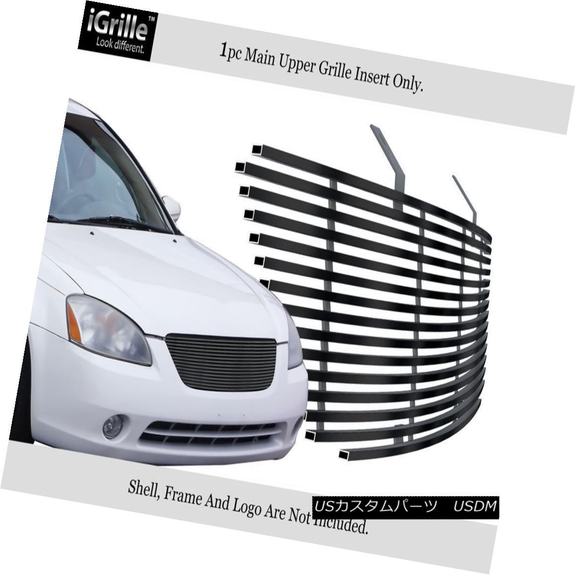 グリル For 2002-2004 Nissan Altima Stainless Steel Black Billet Grille Insert 日産アルティマステンレススチールブラックビレットグリルインサート