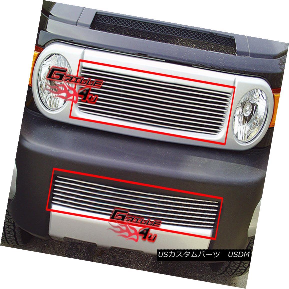 グリル Fits 2007-2014 Toyota FJ Cruiser Billet Grille Grill Insert Combo フィット2007年?2014年トヨタFJクルーザービレットグリルグリルインサートコンボ