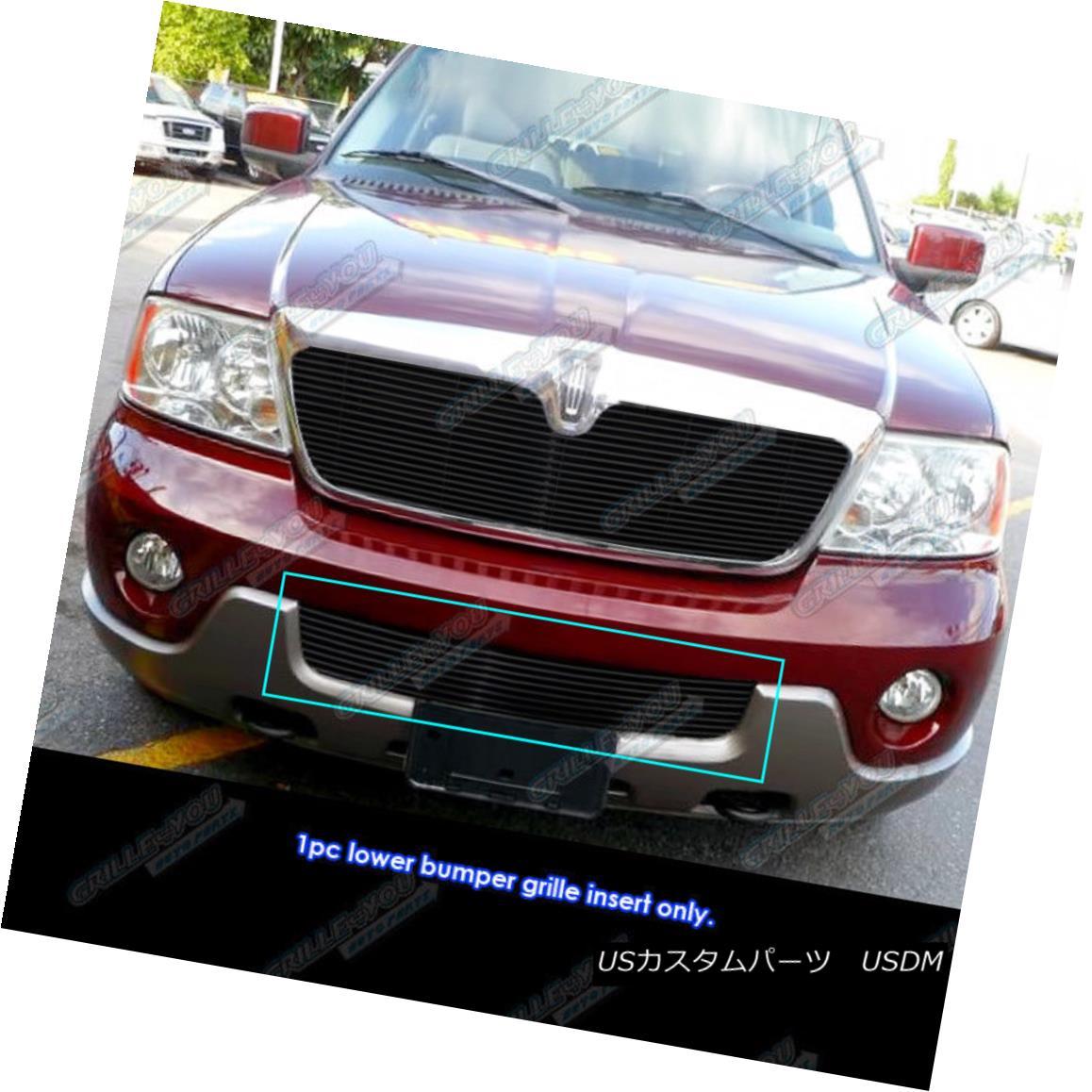 グリル Fits 03-04 Lincoln Navigator Lower Bumper Black Billet Grille Insert フィット03-04リンカーンナビゲーターロワーバンパーブラックビレットグリルインサート