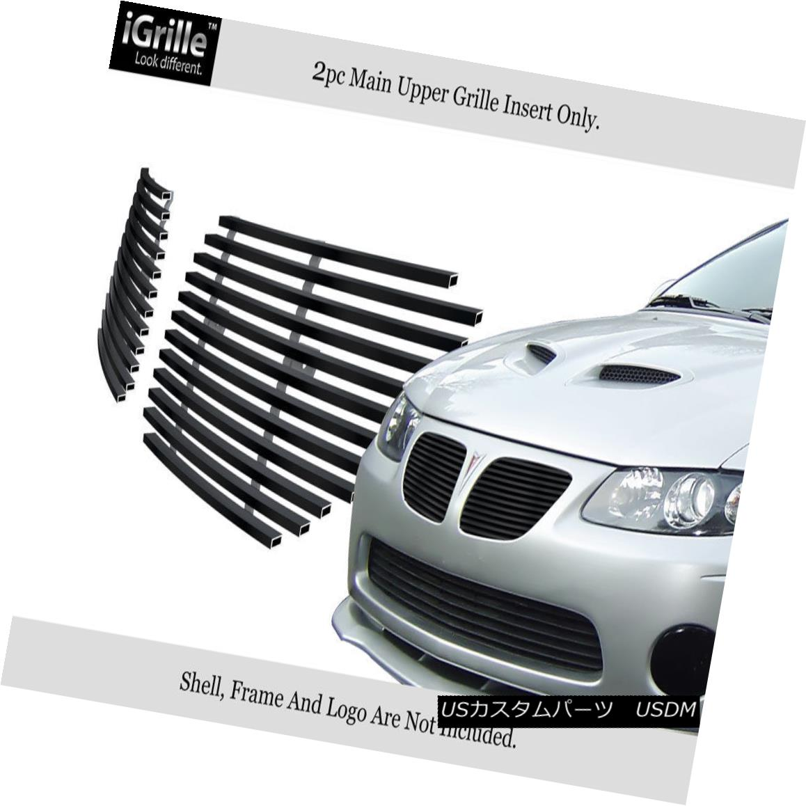 グリル Fits 04-06 Pontiac GTO Black Main Upper Stainless Steel Billet Grille Insert フィット04-06ポンティアックGTOブラックメインアッパーステンレス鋼ビレットグリルインサート