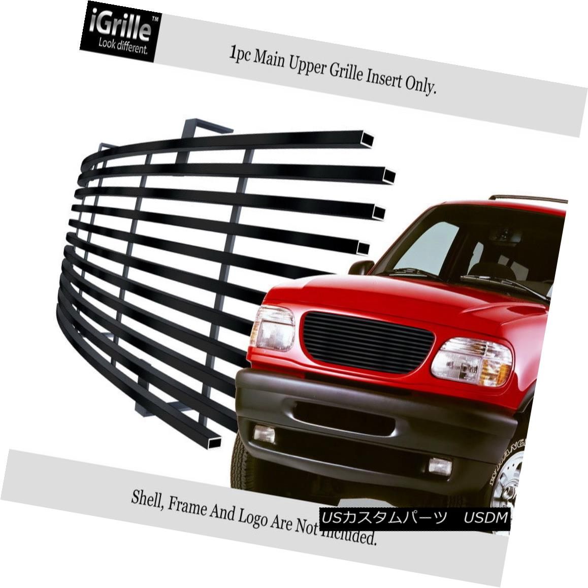 グリル Fits 95-01 Ford Explorer Stainless Steel Black Billet Grille Insert フィット95-01 Ford Explorerステンレススチールブラックビレットグリルインサート