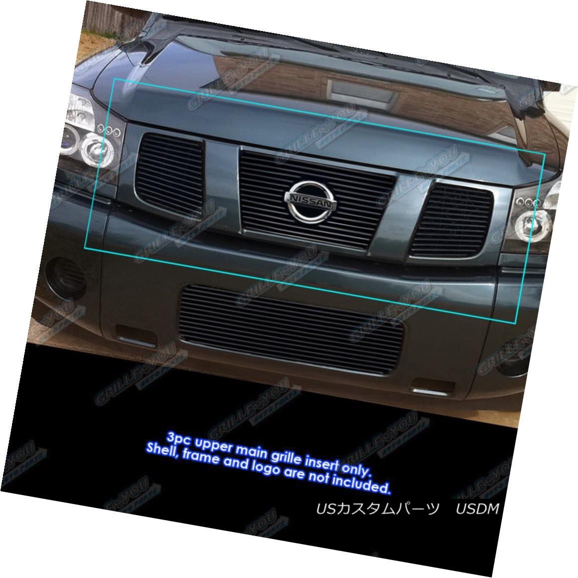 グリル Fits 2004-2007 Nissan Titan/Armada Black Billet Grille Insert 2004-2007 Nissan Titan / Armada Black Billet Grilleインサートに適合
