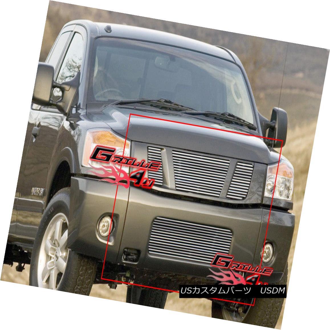 グリル Fits 2008-2014 Nissan Titan Billet Grille Grill Combo フィット2008-2014日産タイタンビレットグリルグリルコンボ