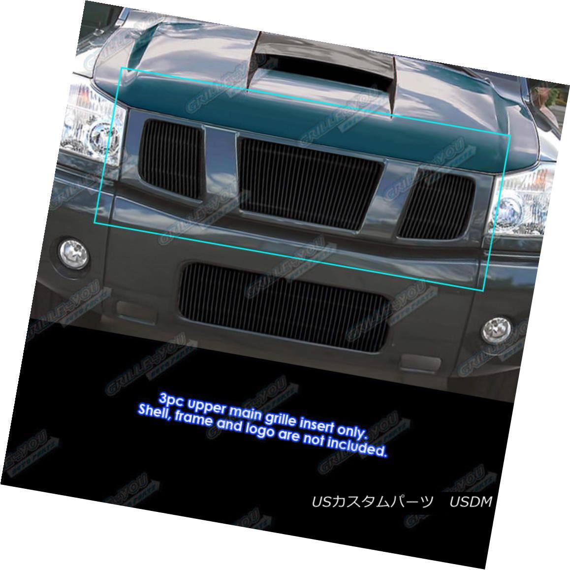 グリル Fits 04-07 Nissan Titan/Armada Black Main Upper Billet Vertical Grille フィット04-07日産タイタン/アルマダブラックメインアッパービレット垂直グリル