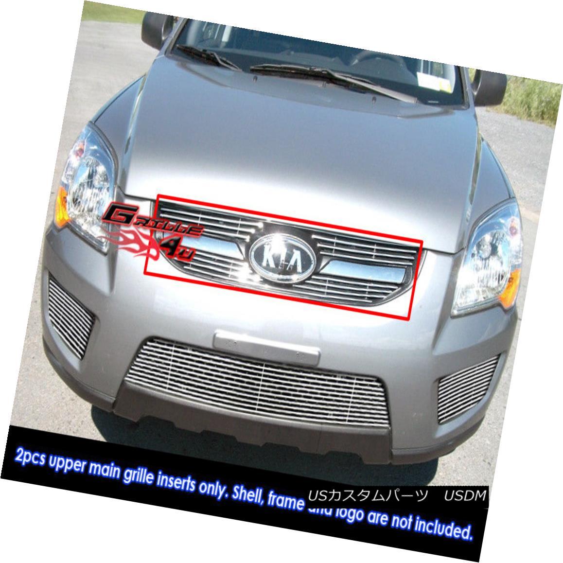 グリル Fits 09-10 2010 Kia Sportage LX Main Upper Billet Grille Grill Insert フィット09-10 2010 Kia Sportage LXメインアッパービレットグリルグリルインサート