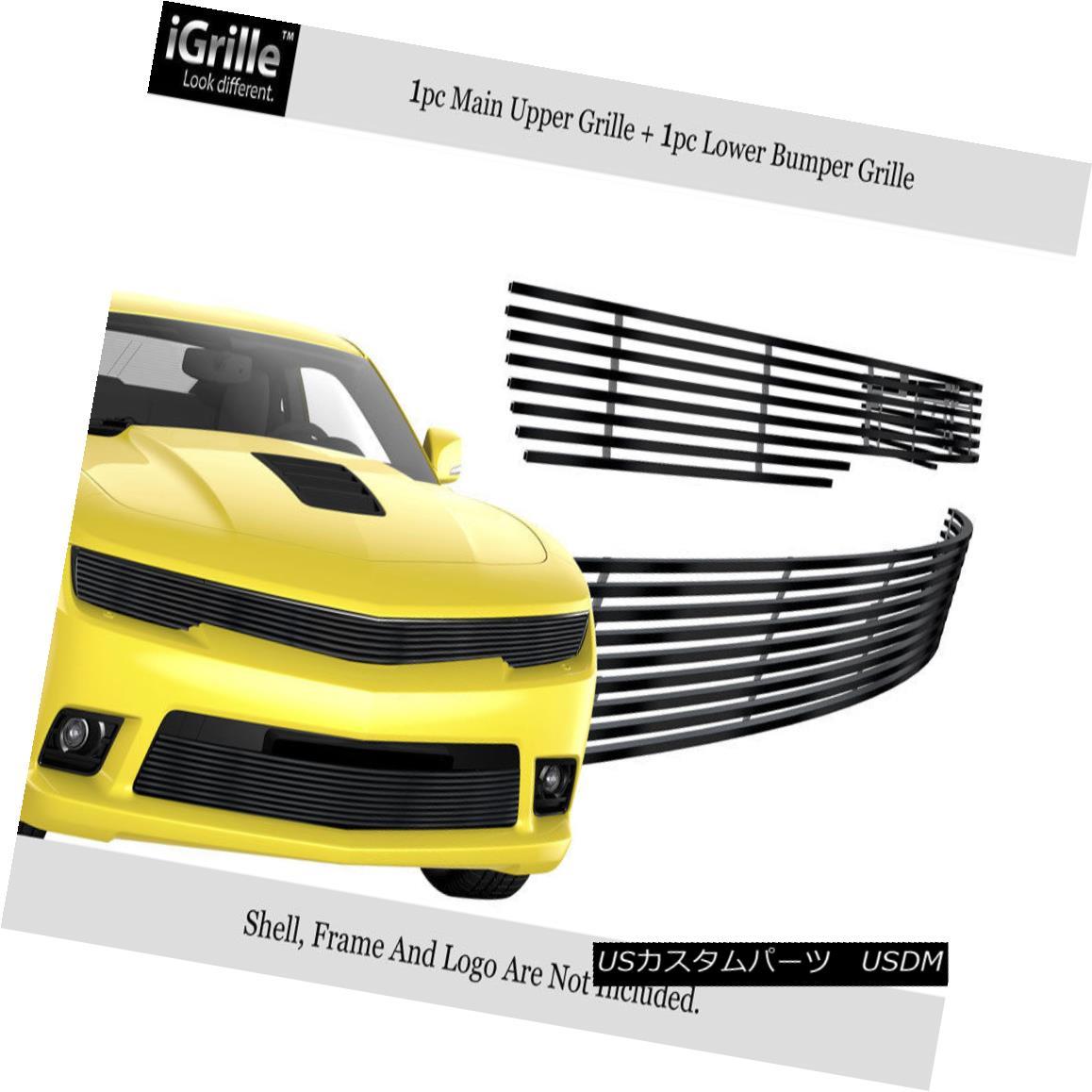 グリル Fits 2014-2015 Chevy Camaro LS/LT W/RS Package Phantom Style Black Billet Grille フィット2014-2015シボレーカマロLS / LT W / RSパッケージファントムスタイルブラックビレットグリル