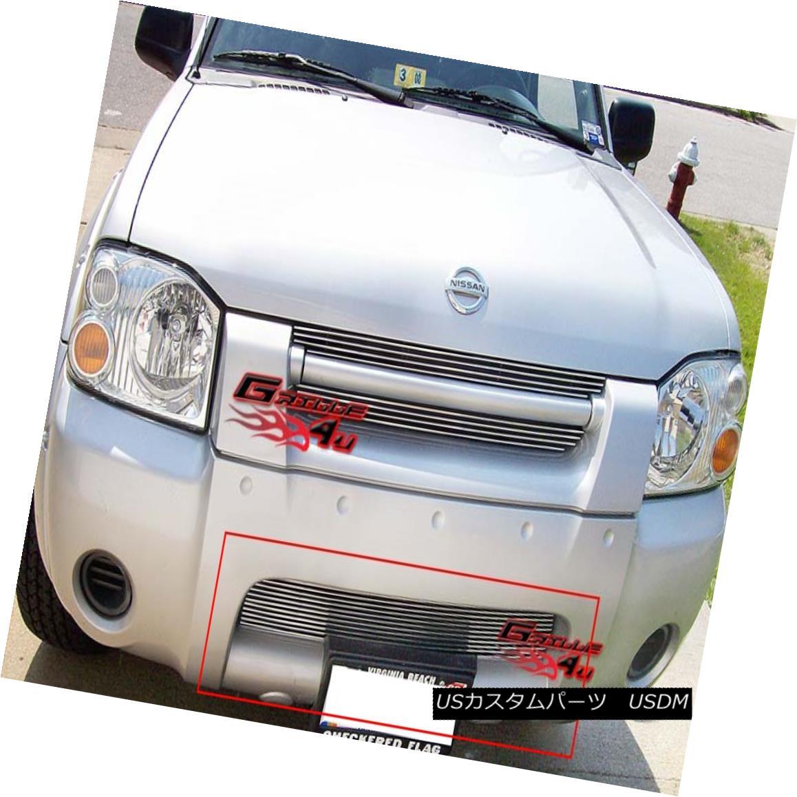 グリル Fits 2001-2004 Nissan Frontier Bumper Billet Grille Insert フィット2001-2004日産フロンティアバンパービレットグリルインサート