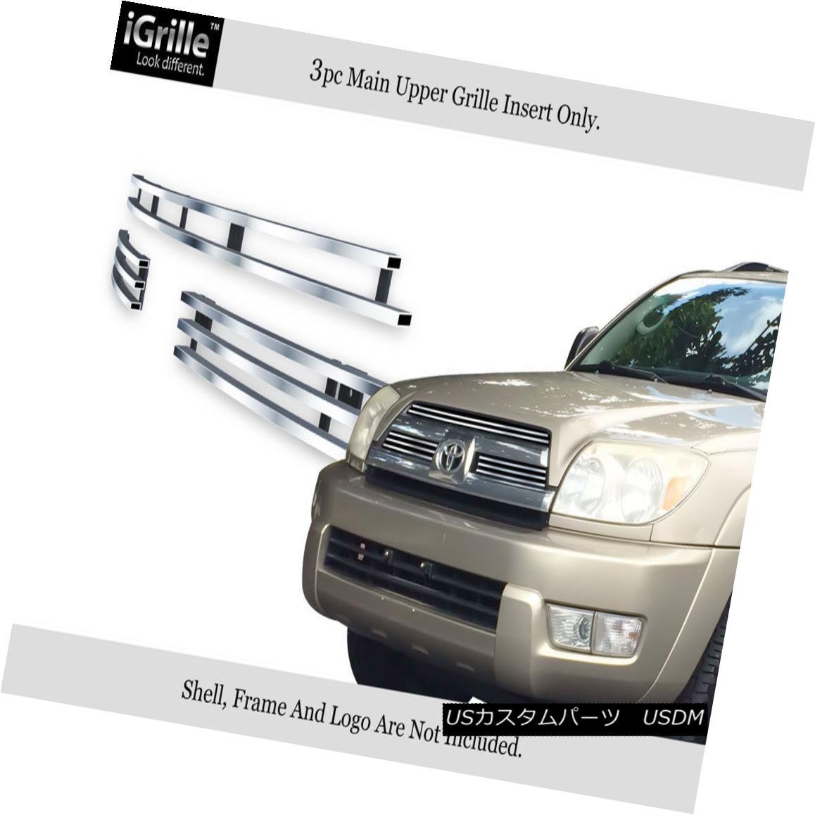グリル Fits 03-05 Toyota 4Runner 4 Runner Stainless Steel Billet Grille Insert フィット03-05トヨタ4ランナー4ランナーステンレス鋼ビレットグリルインサート