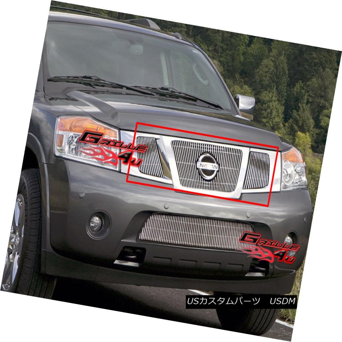 グリル Fits 2008-2015 Nissan Armada Vertical Billet Grille Insert With Logo Show フィット2008-2015日産アルマダ縦型ビレットグリルインサートロゴショー