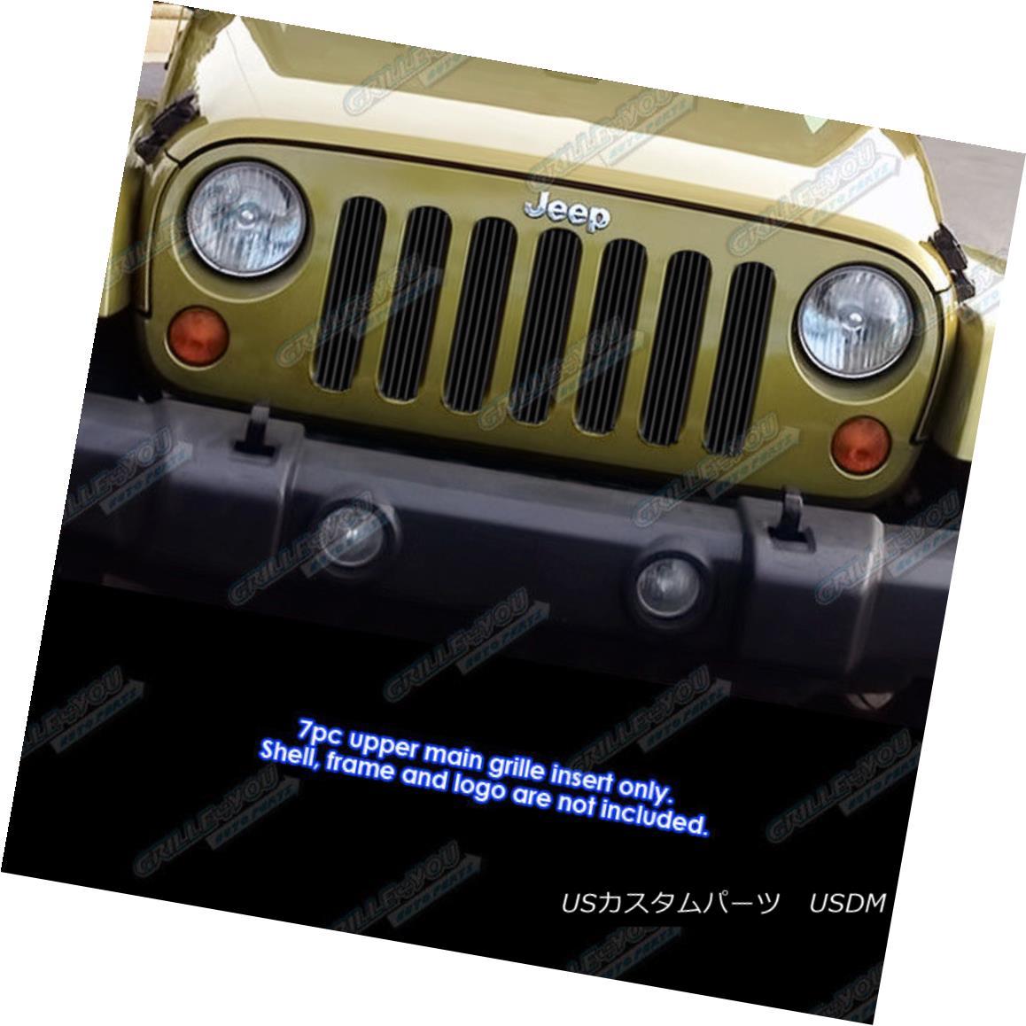 グリル Fits 2007-2018 Jeep Wrangler JK Only Vertical Style Black Billet Grille Insert フィット2007-2018ジープラングラーJKのみ垂直スタイルブラックビレットグリルインサート