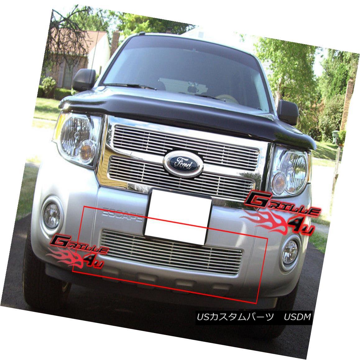 グリル Fits 08-11 2011 Ford Escape Lower Bumper Billet Grille Insert フィット2011年8月11日フォードエスケープロワーバンパービレットグリルインサート