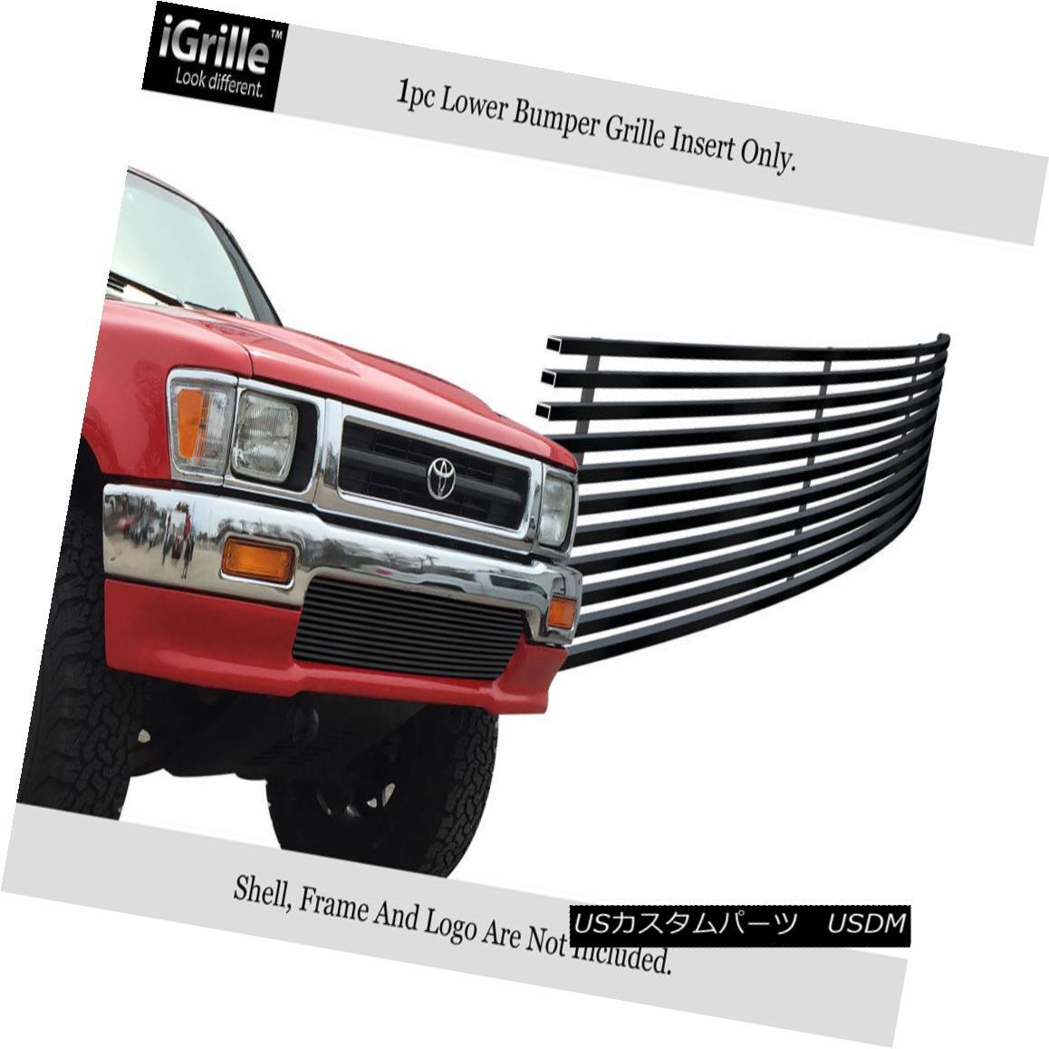グリル For 92-94 Toyota Pickup Truck 4WD Black Stainless Steel Billet Bumper Grille 92-94トヨタピックアップトラック用4WDブラックステンレス鋼ビレットバンパーグリル