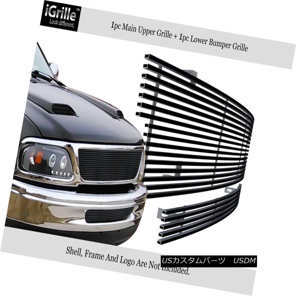 グリル Fits 1997-1998 Ford F-150 2WD Stainless Steel Black Billet Grille Combo フィット1997-1998フォードF-150 2WDステンレススチールブラックビレットグリルコンボ
