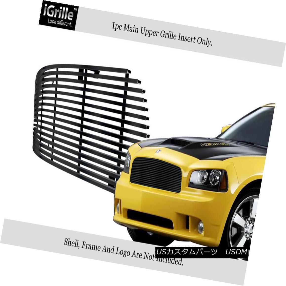 グリル Fits 2005-2010 Dodge Charger Black Stainless Steel Billet Grille Insert フィット2005-2010ダッジチャージャブラックステンレス鋼ビレットグリルインサート