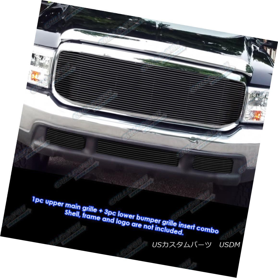 グリル Fits 1999-2004 Ford F-250/F-350 Super Duty Black Billet Grille Combo フィット1999-2004フォードF - 250 / F - 350スーパーデューティブラックビレットグリルコンボ