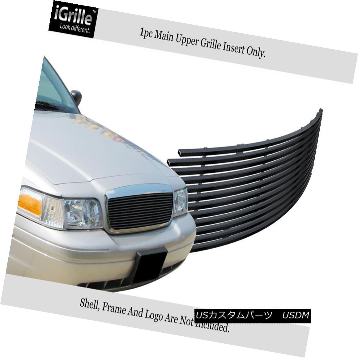 グリル Fits 1998-2012 Ford Victoria Honeycomb Style Stainless Black Billet Grille フィット1998年から2012年フォードビクトリアハニカムスタイルステンレスブラックビレットグリル