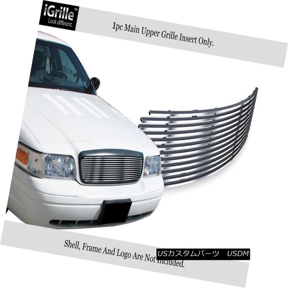 グリル Fits 1998-2012 Ford Victoria Honeycomb Style Upper Stainless Billet Grille フィット1998年から2012年フォードビクトリアハニカムスタイル上部ステンレスビレットグリル