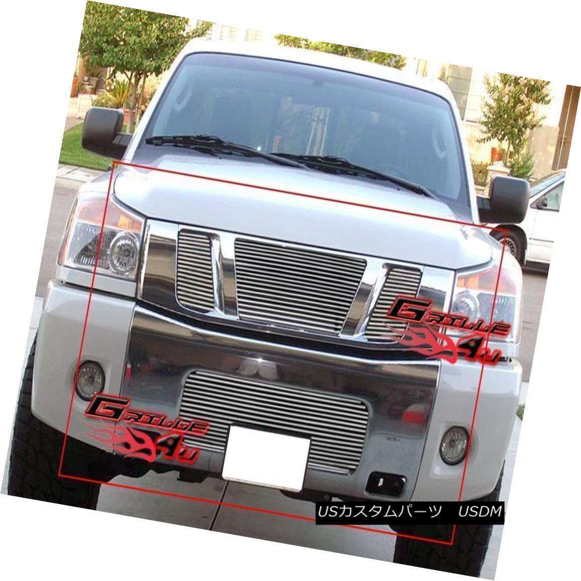グリル Fits 08-14 2014 Nissan Titan Billet Grille Combo Upper+Lower フィッツ08-14 2014 Nissan Titan Billet Grille Combo Upper + Lower