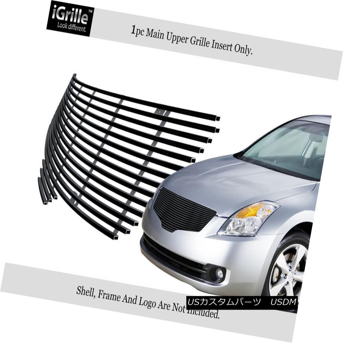 グリル Fits 2007-2009 Nissan Altima Sedan Black Stainless Steel Billet Grille Insert フィット2007-2009日産アルティマセダンブラックステンレススチールビレットグリルインサート