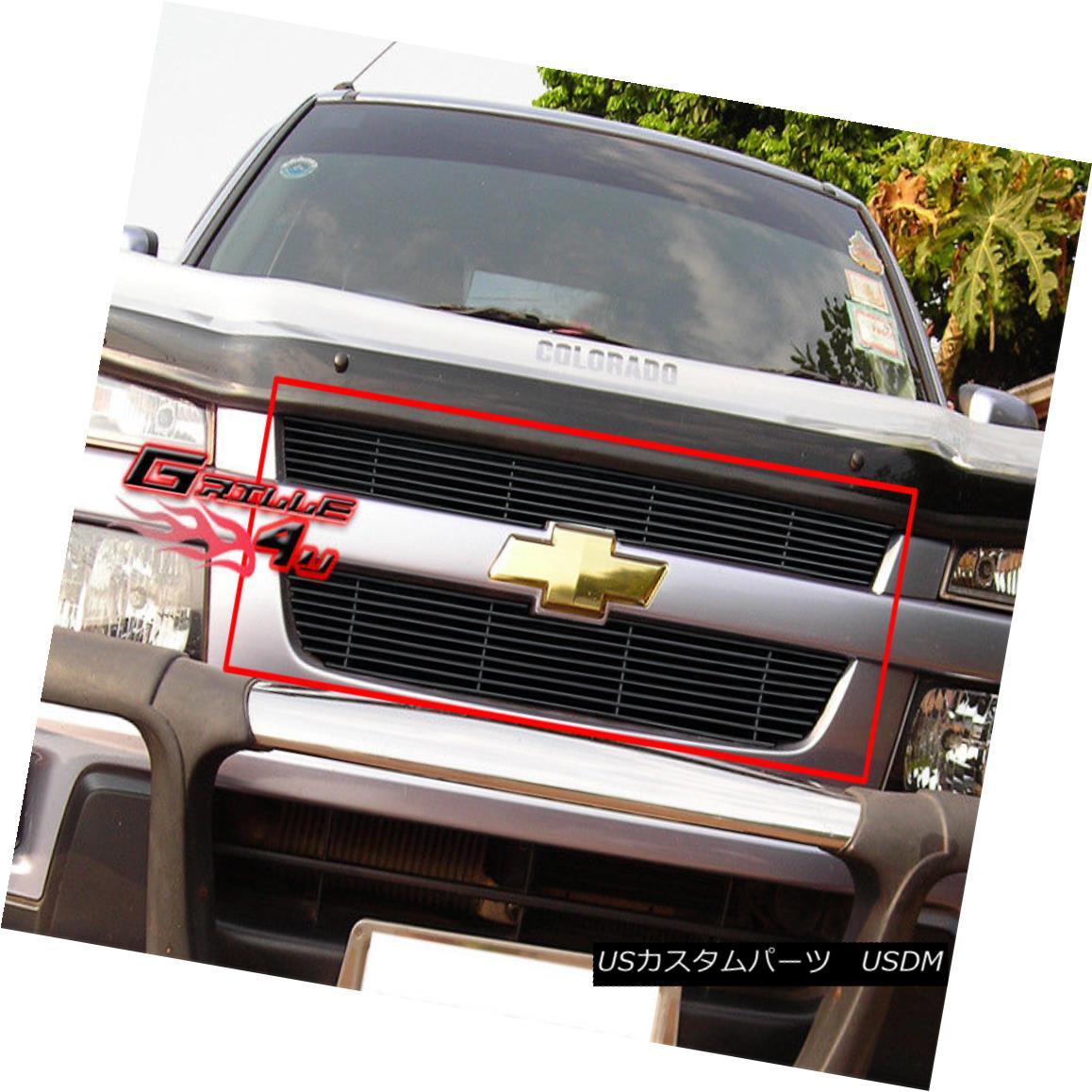 グリル Fits 2004-2012 Chevy Colorado Black Billet Grille Insert フィット2004年から2012年のシェビーコロラドブラックビレットグリルの挿入