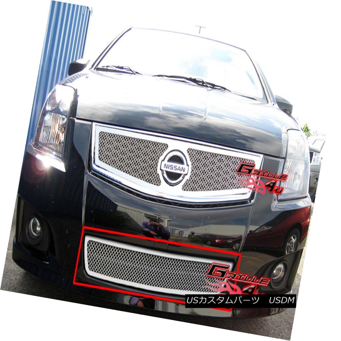 グリル Fits 2007-2010 Nissan Sentra SE-R Stainless Bumper Mesh Grille フィット2007-2010日産セントラSE-Rステンレスバンパーメッシュグリル