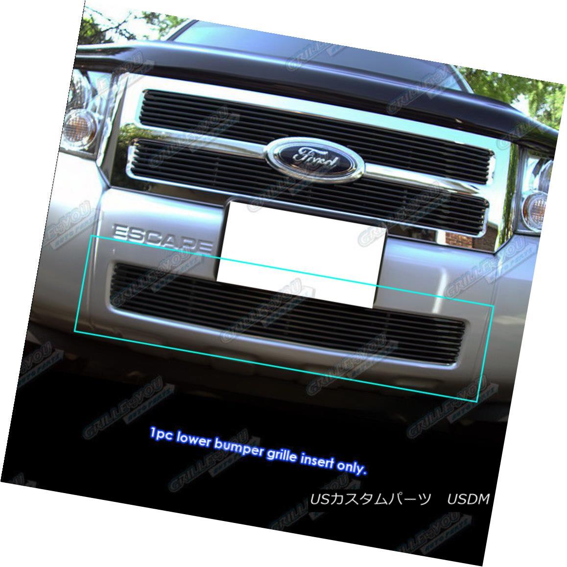 グリル Fits 2008-2012 Ford Escape Black Main Upper Billet Grille Grill Insert フィット2008-2012フォードエスケープブラックメインアッパービレットグリルグリルインサート