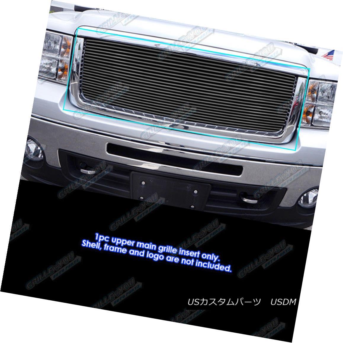 グリル Fits 2007-2013 GMC Sierra 1500 Black Billet Grille Insert 2007-2013 GMC Sierra 1500 Black Billet Grilleインサートに適合
