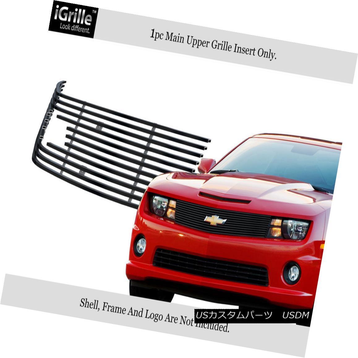 グリル Fits 2010-2013 Chevy Camaro LT/LS/RS/SS Stainless Steel Black Billet Grille フィット2010-2013シボレーカマロLT / LS / RS / SSステンレススチールブラックビレットグリル