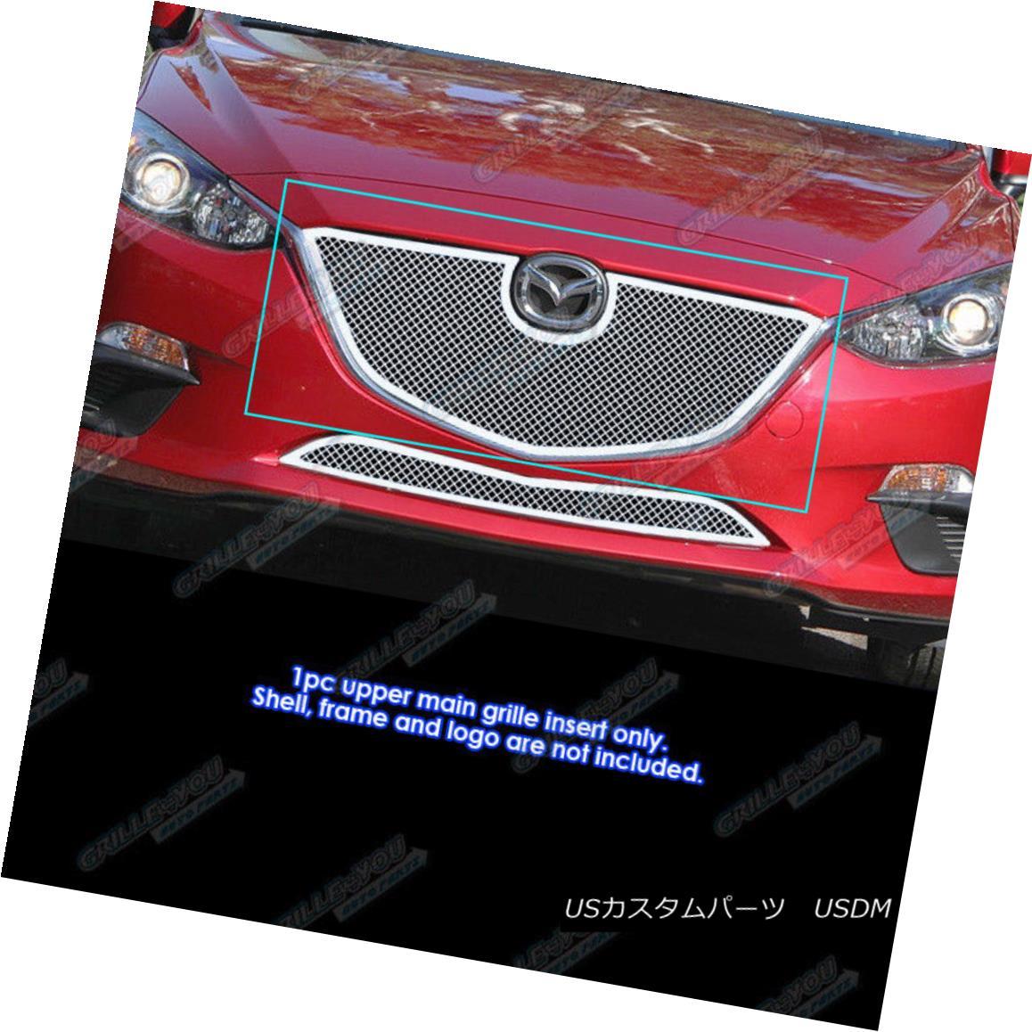 グリル Fits 2014-2016 Mazda 3 Stainless Steel Mesh Grille Insert フィット2014-2016マツダ3ステンレスメッシュグリルインサート