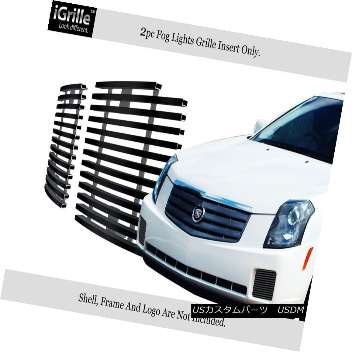 グリル Fits 2003-2007 Cadillac CTS Fog Light Cover Stainless Black Billet Grille Insert フィット2003-2007キャデラックCTSフォグライトカバーステンレスブラックビレットグリルインサート