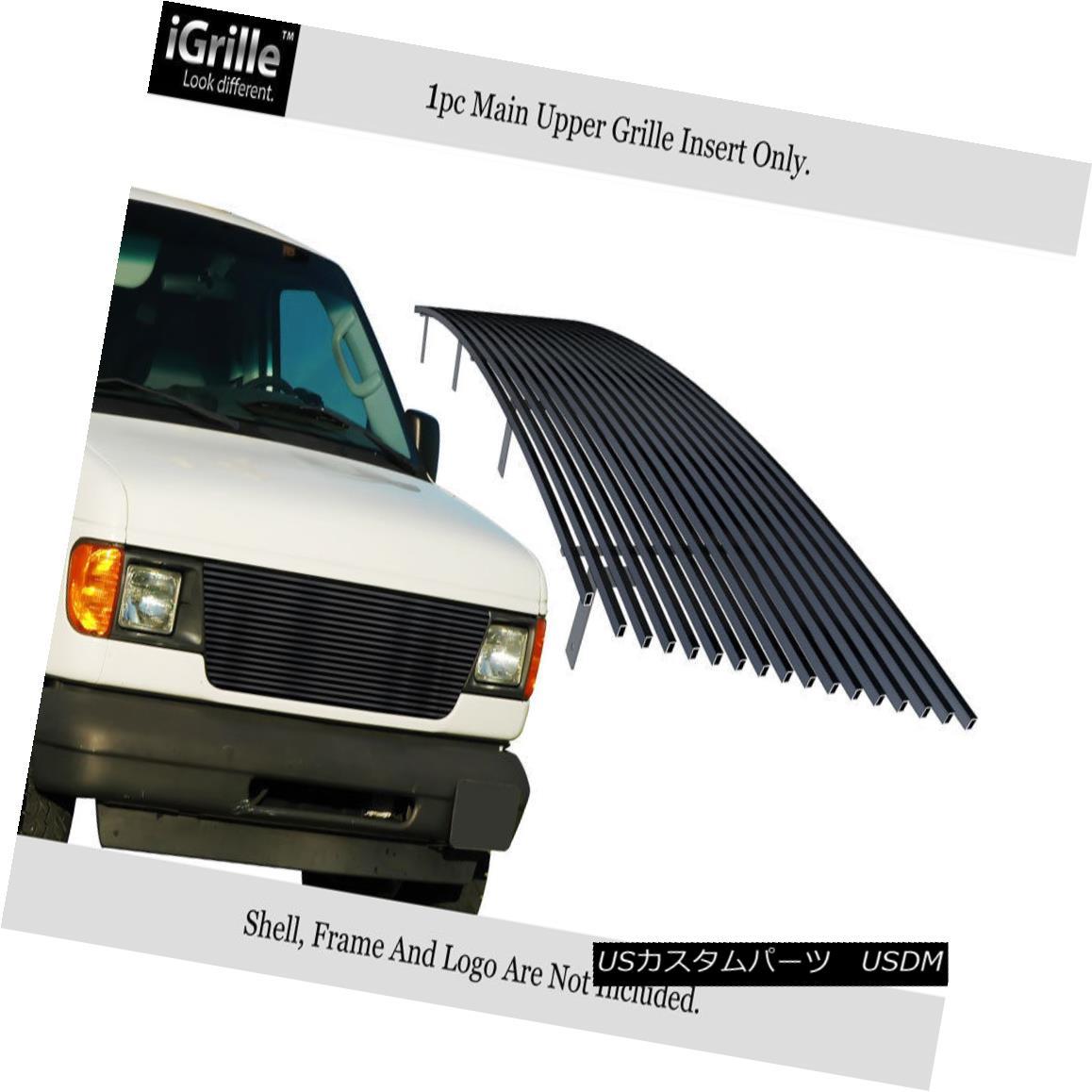 グリル For 92-06 Ford Econoline Van Black Stainless Steel Billet Grille Insert 92-06 For Ford Econolineヴァンブラックステンレス鋼ビレットグリルインサート